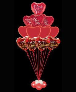 12 Valentines Foil Heart Balloons