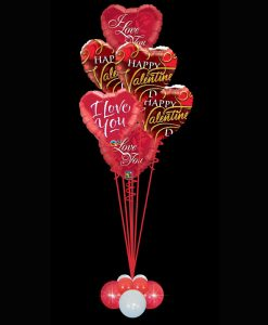 6 Valentines Foil Heart Balloons