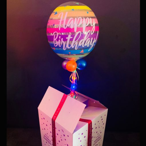 Birthday stripes bubble in a box