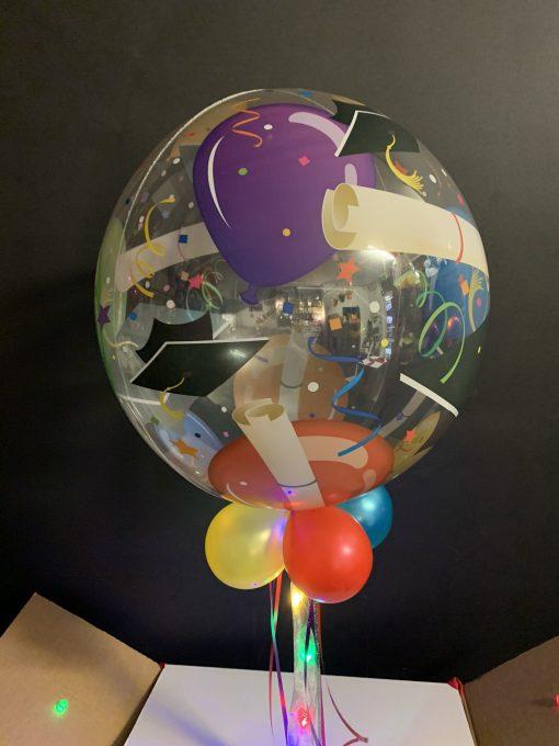 Graduation bubble in a box closeup