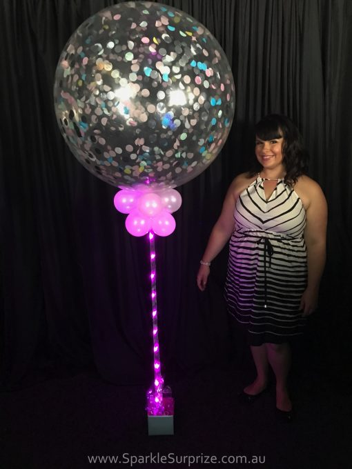 Jumbo Sparkle Confetti balloon with pink ribbon lite