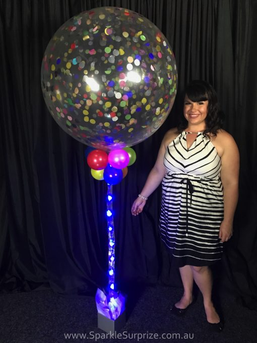 Jumbo Sparkle Confetti balloon with blue ribbon lite
