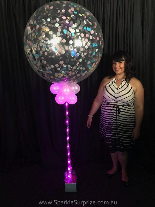 Pastel Sparkle Confetti Balloon Pink Ribbon Lites