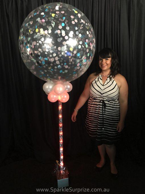 Jumbo Pastel sparkle Confetti balloon with orange ribbon lite