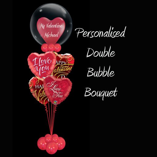 Personaliesd Double Bubble Valentines bouquet