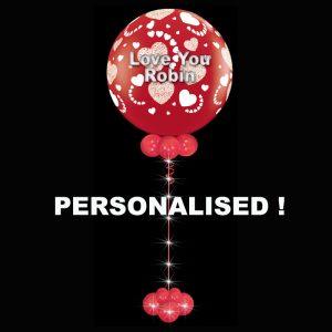 Personalised Jumbo latex Hearts Around balloon with lights