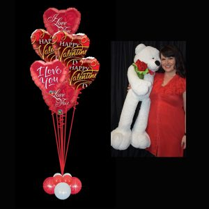 Valentines Foil Bouquet with Giant Teddy
