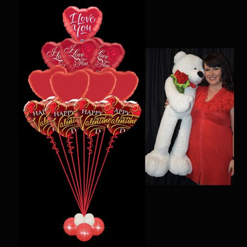 Valentines Ultimate Foil Bouquet with Giant Teddy