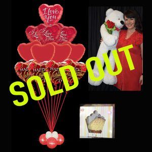sold out Valentines Ultimate Foil Bouquet with CUPCAKE and Giant Teddy