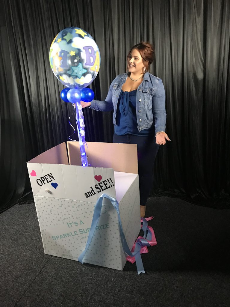 Sparkle Bubble In A Box Gender Reveal With Lights To