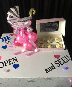 Cupcakes and balloons gender reveal