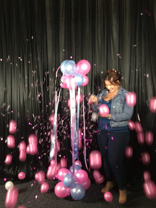 gender reveal balloon and confetti shower