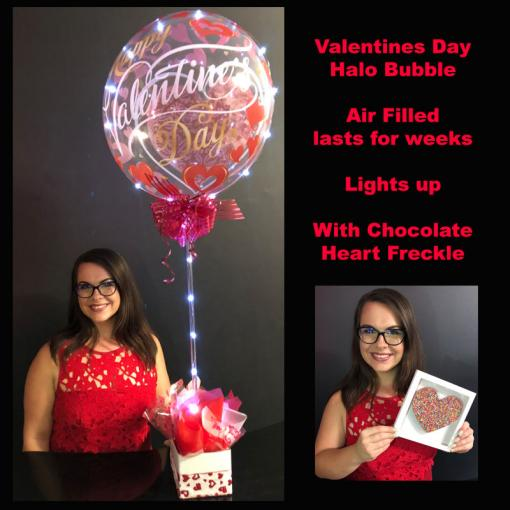 Valentines Halo Bubble & choc heart