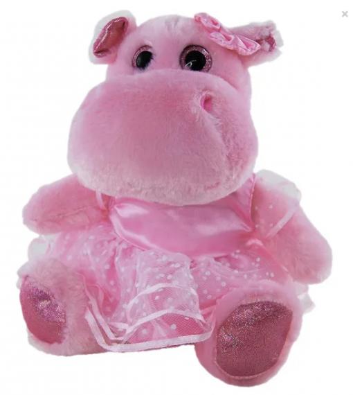 Pink Hippo ballerina plush toy