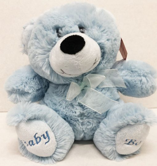 large 25cm blue teddy baby boy