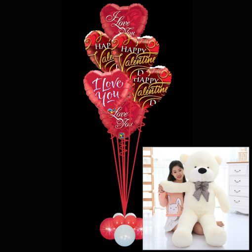 6 Valentines Foil Heart Balloons and Ex Large Teddy