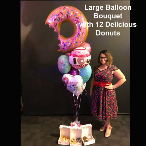 large balloon bouquet with 12 donuts