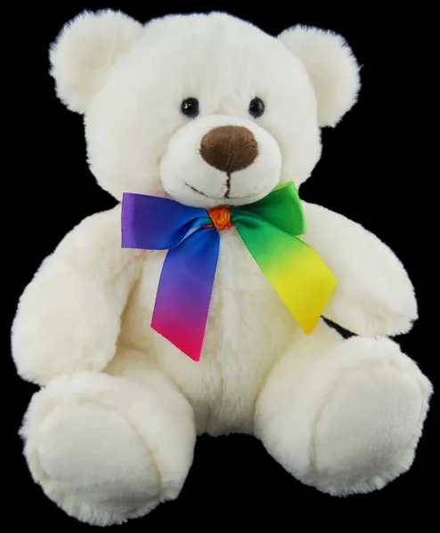 white teddy bear rainbow bow 23cm