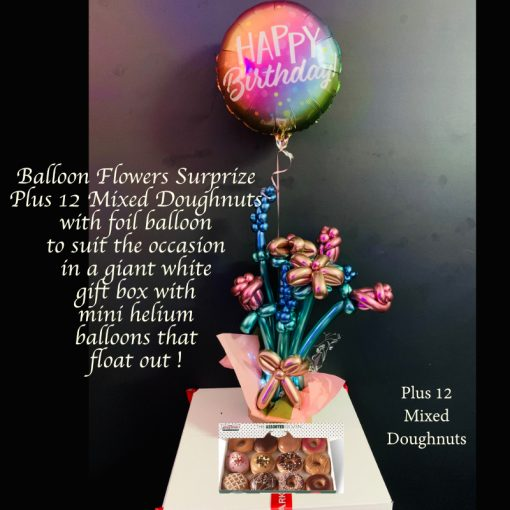 balloon flower surprize and 12 mixed doughnuts