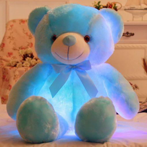 blue light up teddy bear 25cm