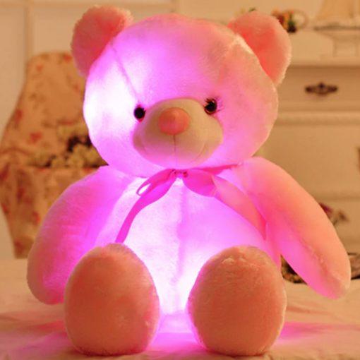 pink light up teddy bear 25cm