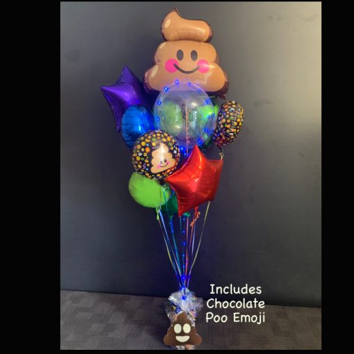 Poo emoji themed balloon bouquet