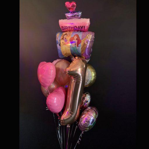 Princess number balloon bouquet